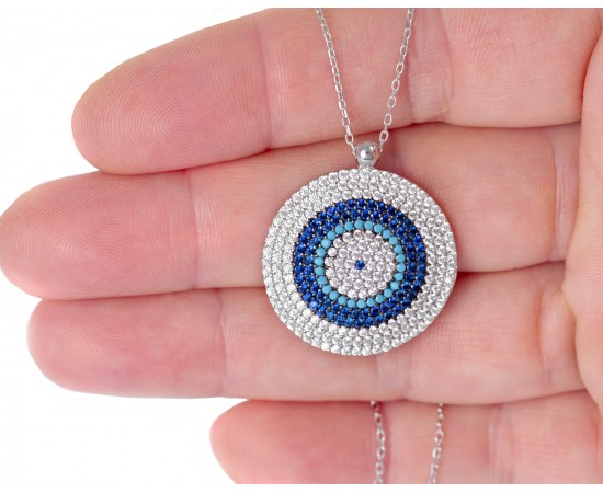 Large Evil Eye Disk Necklace