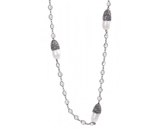 Luxury Pearl Necklace with Cz Stones