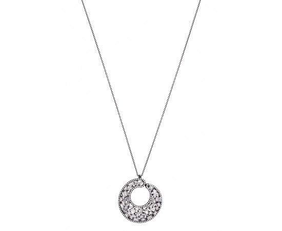 Luxury Silver Necklace with Baguette Stone