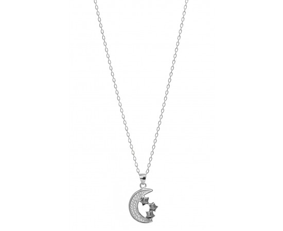 Moon and Star Necklace with Cz Stones