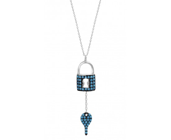 Padlock Necklace with Turquoise Stones.