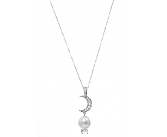 Pearl and Crescent Bridal Necklace
