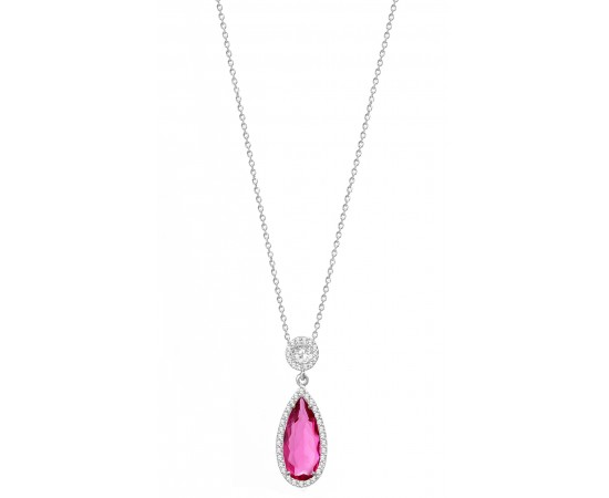 Rubellite Tourmaline CZ Necklace