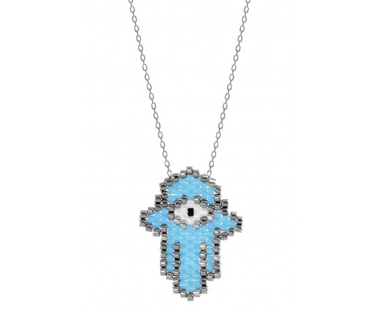 Seed Bead Necklace with Hand of Hamsa