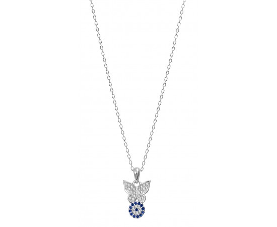 Silver Butterfly Necklace with Evil Eye