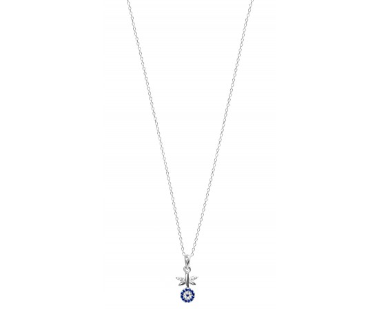 Silver Dragonfly Necklace with Evil Eye
