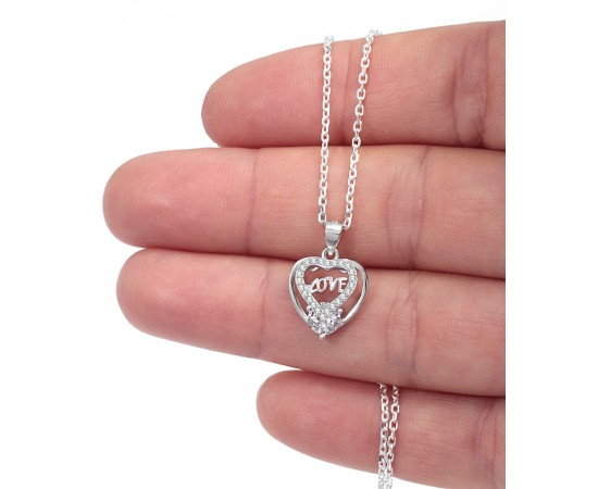 Silver Heart Necklace with Cz Stones