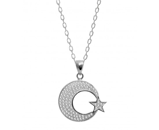 Silver Necklace with Crescent Moon and Star
