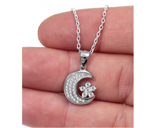 Silver Necklace with Cz Crescent Moon and Star