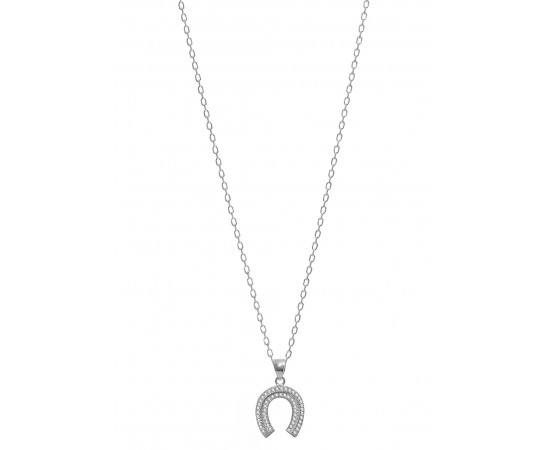 Silver Necklace with Cz Horseshoe Necklace