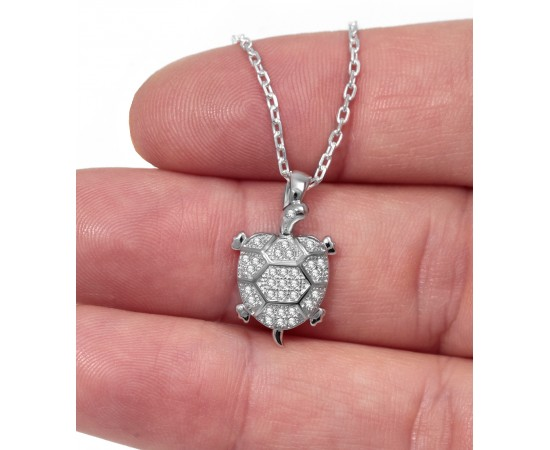 Silver Necklace with Cz Stone Turtle Charm
