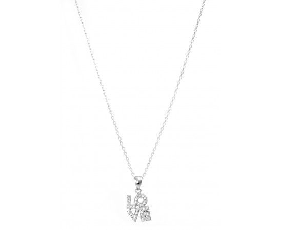 Silver Necklace with Cz Stones Love