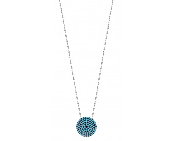 Silver Necklace with Nano Turquoise Disc