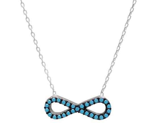 Silver Necklace with Nano Turquoise Gemstone Infinity Charm