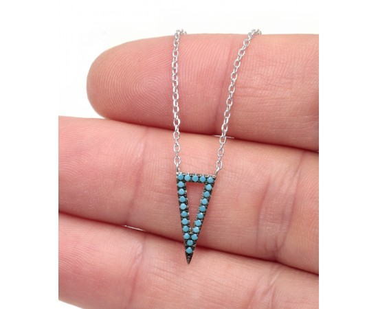 Silver Necklace with Nano Turquoise Stones Triangle