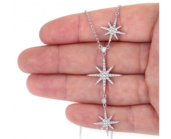 Silver Starburst Necklace with Cz Stones