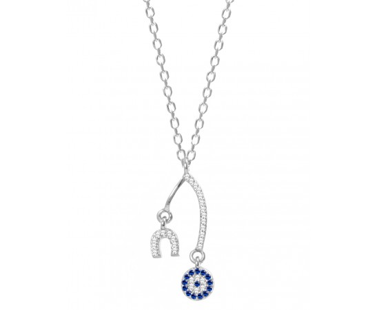 Silver Wishbone Necklace with Evil Eye Charm