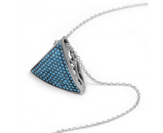 Triangle Necklace with Nano Turquoise Stones