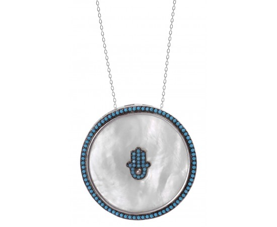 Hamsa Hand Medallion Necklace
