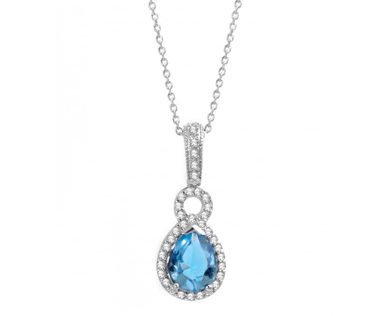 Blue Topaz Quartz CZ Necklace
