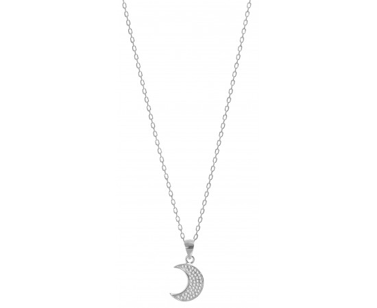 Sparkle Moon Necklace with Cz Stones