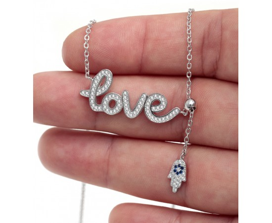Sterling Silver Love Necklace with Hamsa Charm