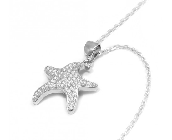 Sterling Silver Star Cz Necklace