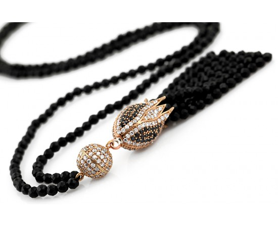 Tulip Necklace with Onyx and CZ Stones