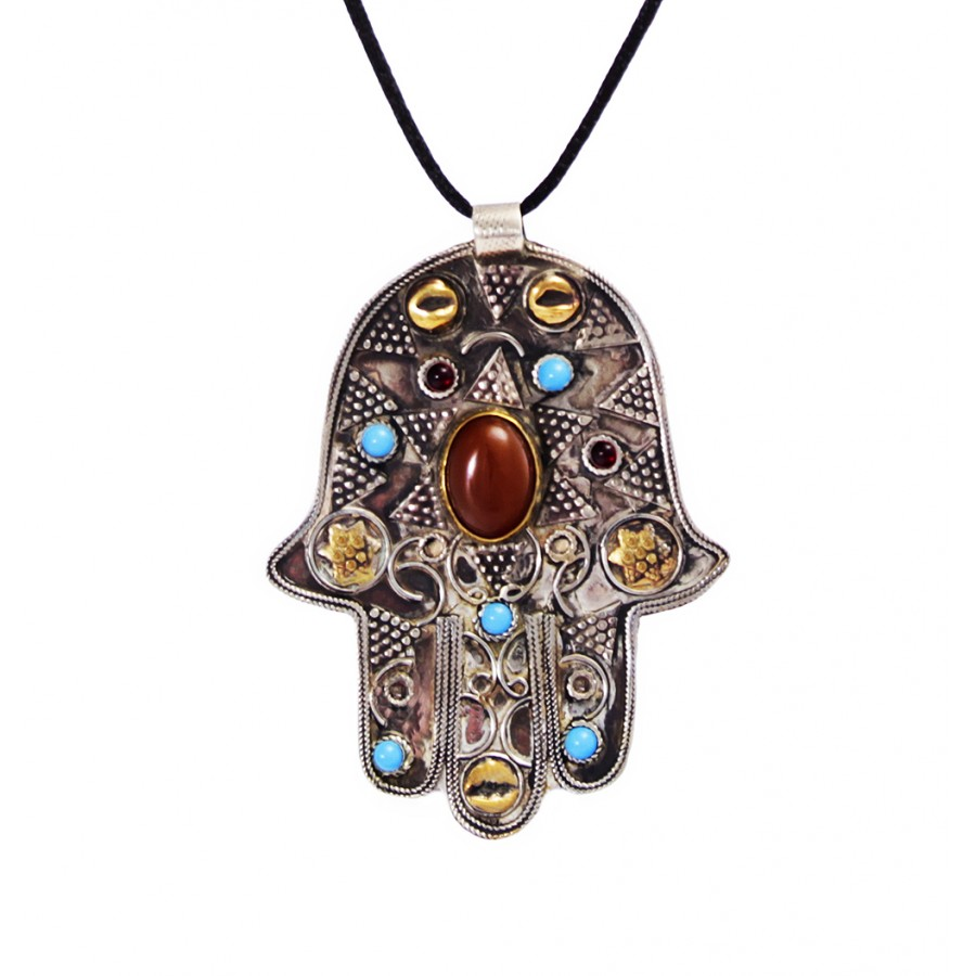 Vintage Hamsa or Hand of Fatima Necklace by Evil Eye Store