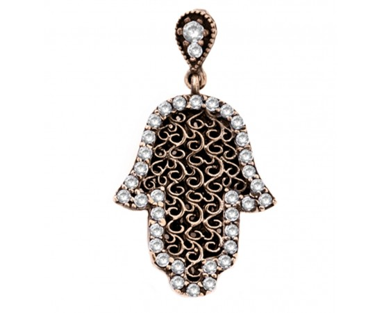 Gold Plated Silver Hamsa Hand Pendant
