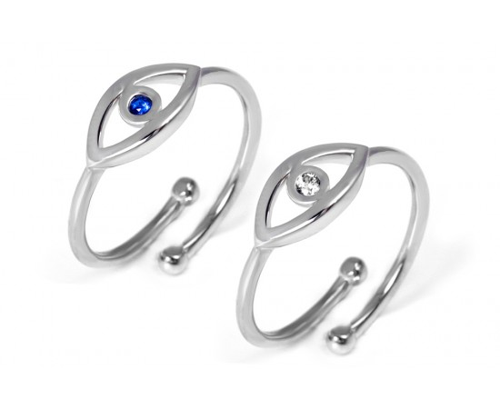 Adjustable Silver Evil Eye Ring