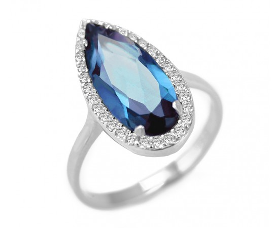 Blue Topaz Quartz Silver CZ Ring