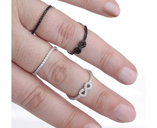 Double Layer Silver Infinity Ring