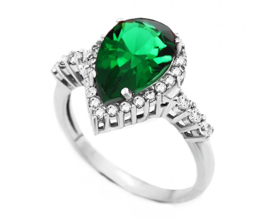 Emerald Quartz Silver CZ Ring
