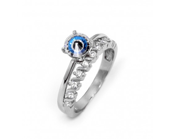 Evil Eye Ring with Crystal Evil Eye Stone