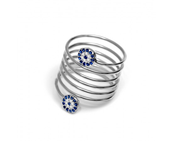 Evil Eye Ring with Double Cz Evil Eyes