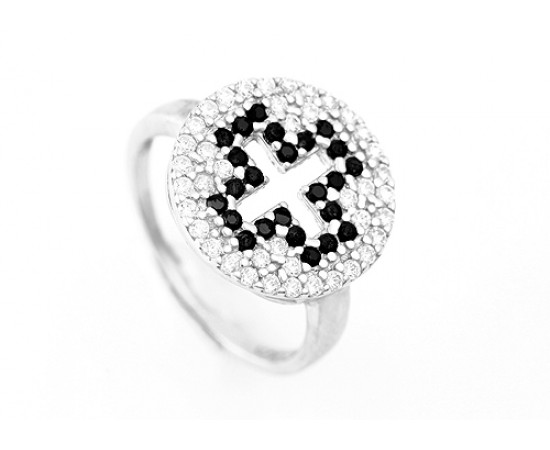 Greek Cross Ring with Cubic Zirconia Stones