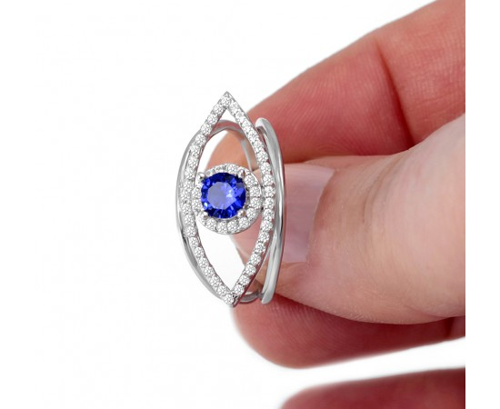 Greek Lucky Eye Ring with Cz Stones