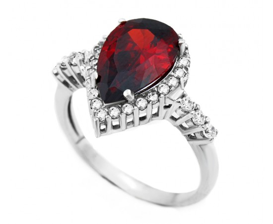 Ruby Quartz Silver CZ Ring