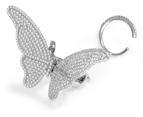 Silver Butterfly Ring with Flying Mechanism