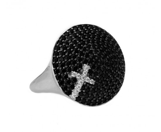 Silver Cross Ring with Cz Stones Disc