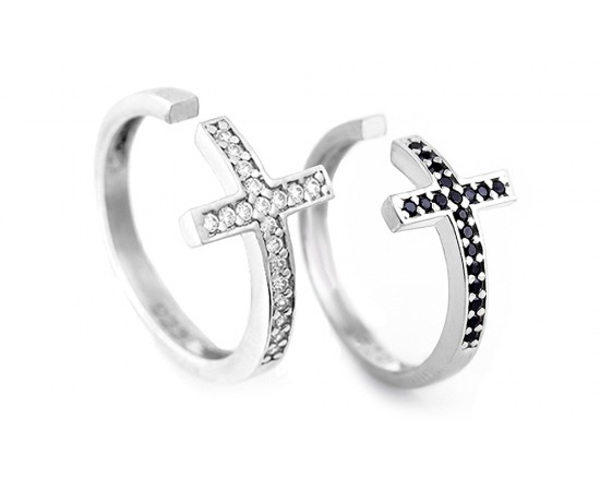 Silver Cross Ring with Cz Stones
