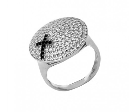 Silver Disc Cross Ring with Cz Stones