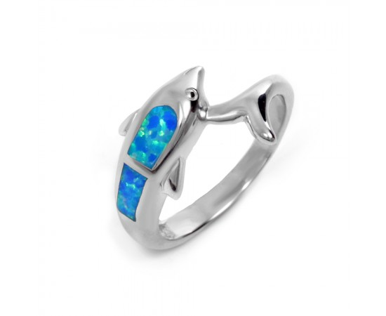 Silver Dolphin Inlay Ring w Blue Opal