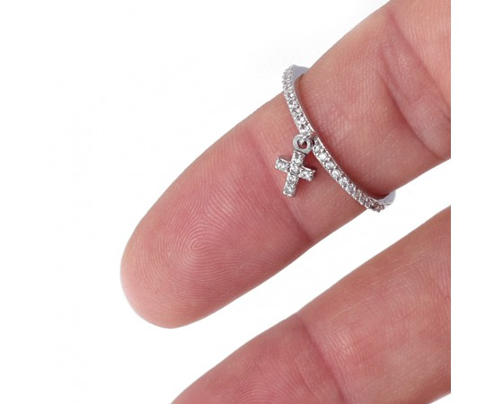 Silver Ring with Mini Dangling Cross
