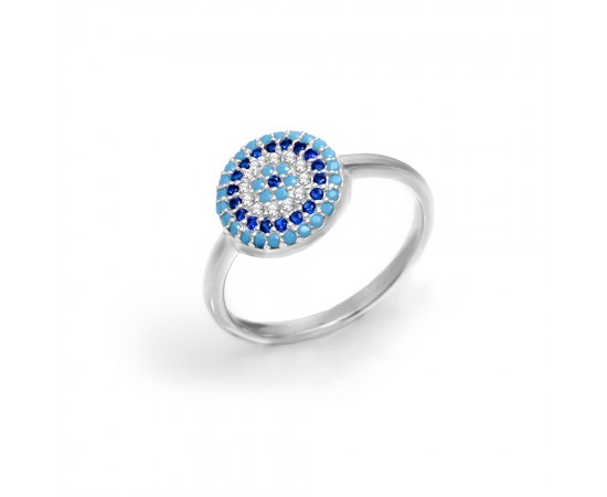 Evil Eye Ring with Nano Turquoise Stones