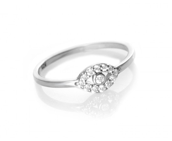 Stackable Ring with Cz Evil Eye