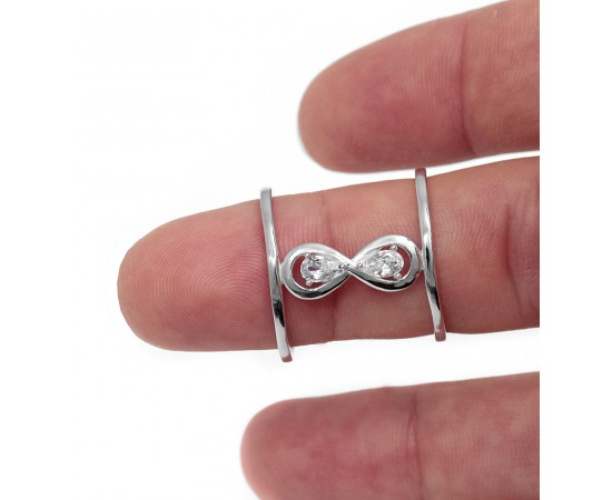 Sterling Silver Double Bar Infinity Ring