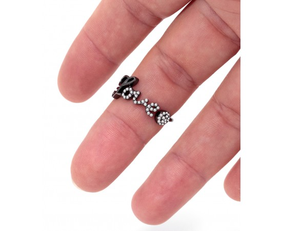 Sterling Silver Love Ring with Cz Stones