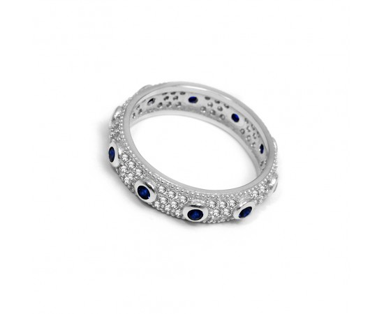 Sterling Silver Ring with Blue Sapphire Stones